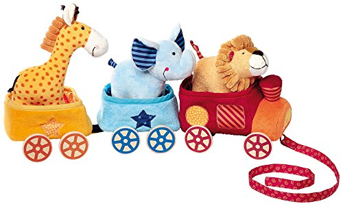Sigikid 41083 - Mädchen und Jungen, Safari Zug, Play Q, gelb/blau/rot