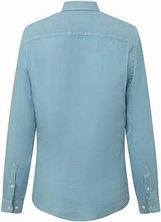 Hackett - Camisa de manga larga de lino teñida para hombre, color azul coral