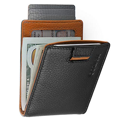 Mens Bifold Minimalist RFID Wallet -Thin Travel Wallets For Men w/Small Card Holder- Removable Money Clip - Pull Out Card Strap - Male Carbon Black Bi Fold Wallets