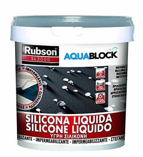 Rubson Aquablock SL3000 Silicona Líquida gris, impermeabilizante líquido para prevenir y reparar goteras y humedades, silicona elástica con tecnología Silicotec, 5 kg, Gris