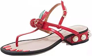THE LONDON STORE Women's Red Leather Flat Flip-Flops