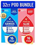 Vitacup Genius & Slim Coffee 32 Pod Bundle | Superfood & Vitamins B1, B5, B6, B9, B12 Infused | Variety Pack of (2) 16 Count Single Serve Pods Compatible with K-Cup Brewers