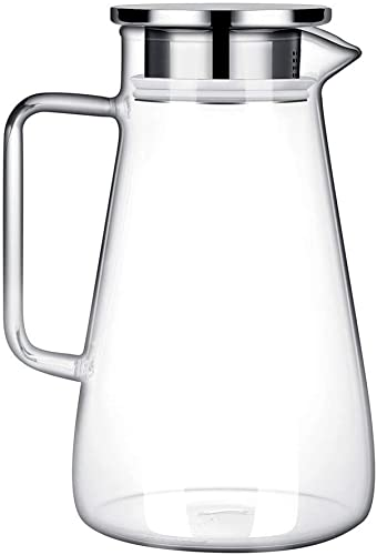 lowest 52 Ounces Borosilicate Glass Pitcher 2021 with Handle - Heat Resistant Water Carafe with Stainless Steel Lid - Large Beverage Pitcher for Homemade Juice and Iced 2021 Tea outlet online sale