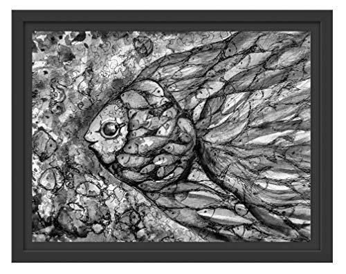 Picati Kleurrijke viskunst in schaduwvoegen fotolijst | Kunstdruk op hoogwaardig galeriekarton | hoogwaardige canvasfoto alternatief 38x30