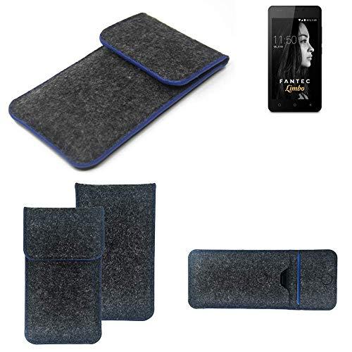 K-S-Trade Handy Schutz Hülle Für FANTEC Limbo Schutzhülle Handyhülle Filztasche Pouch Tasche Hülle Sleeve Filzhülle Dunkelgrau, Blauer Rand