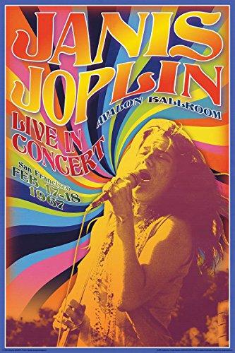 Poster Janis Joplin Live in Concert (61cm x 91,5cm) + 1 Powerstrips®, tesa adhésifs Double face-20pcs