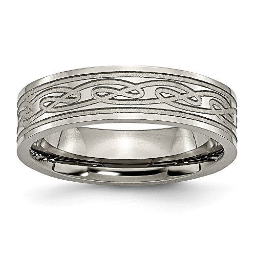 Solid Titanium Flat Laser Etched Celtic Knot Irish Claddagh Knot 6mm Wedding Band Ring Comfort-Fit Size 10.5
