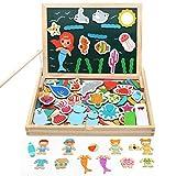 Puzzle de Madera 4 EN 1 Juguetes de Madera Juguetes de Pescar Educativos Caja Puzle Pizarra Blanca Magnética Niños Regalos para Niños de 3 4 5 6 7 Años (110 Piezas)