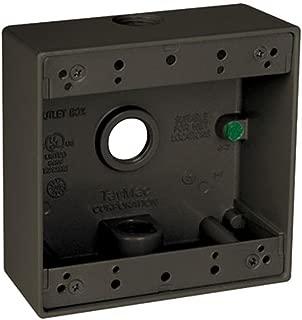 TayMac DB350Z 4-1/2-Inch X 4-1/2-Inch Gang 2-Inch Deep Weatherproof Box, 1/2-Inch Outlets, Bronze