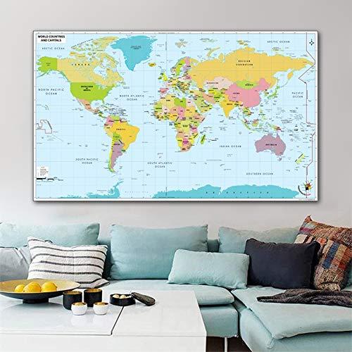 WSF-MAP, 1 stück reliabli art world map leinwand gemälde hause wandbilder für wohnzimmer kinder schlafzimmer moderne dekoration poster kein frame (Größe : 20x35cm)