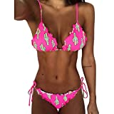 Bikini Donna Brasiliana,2pcs Stampare/Fiore Punto Leopardo Banda Bikini Donna Mare Push up Costumi da Bagno Bikini Costume da Bagno Bandage Swimwear Bathingsuit Swimsuit (Rosa Caldo&, XL)