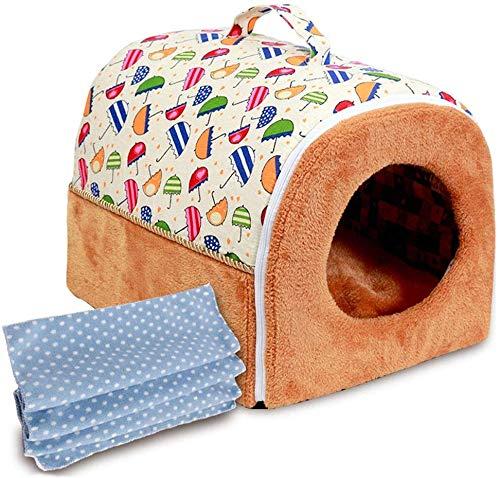 DGHJ kat, bed met kleine teddybeer, huisdier/EMI-chius/opvouwbaar/dik/winter/warm/vier seizoenen, universele accessoires voor laptop, pet, M, Wit.