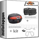kappa maleta k46n + maletas laterales kgr46npack2 + portaequipaje monolock + portamaletas lateral monokey compatible con honda nc 750 s 2020 20