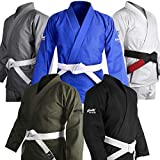Brazilian Jiu Jitsu Gi BJJ Gi for Men & Women Uniform Kimonos Ultra Light, Preshrunk, Free White Belt!!! (Black, A3)