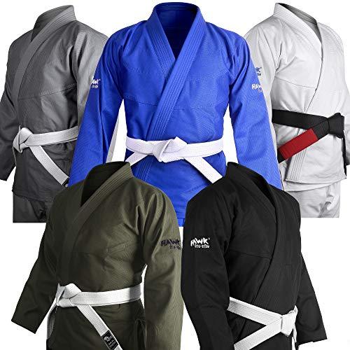 Brazilian Jiu Jitsu Gi BJJ Gi for Men & Women Uniform Kimonos Ultra Light, Preshrunk, with White Belt!!! (White, A2)