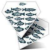 2 pegatinas de diamante de 7,5 cm – Pesca de la trucha de la carpa de atún océano divertido calcomanías para portátiles, tabletas, equipaje, chatarra de reservas, neveras, regalo fresco #8151