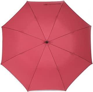 Men's Umbrella Long Handle Large Personality Corporate Umbrella Solid Color Huhero (Color : Red)
