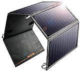 ZSPSHOP Cargador Solar Portátil De 24 W con 2 Puertos USB Compatible con 4 Paneles Solares Plegables para Teléfono Inteligente Tablet Cámara Powerbank Y Camping Travel