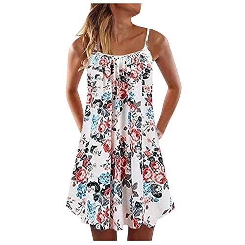 Alwayswin Sommarklänning dam casual väst tunika klänning ärmlös bohemisk miniklänning tryck lös bärare-stor bohoklänning vintage elegant festklänning sommar kort t-shirt blusklänning