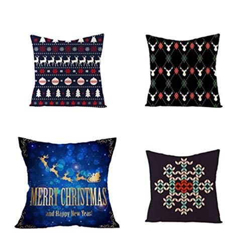 YUIQ 4 pcs Christmas Pillowcase, Christmas Series Cushion Cover Case, Throw Pillow covers 18 x 18 for Christmas