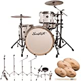 Sawtooth Command Series 4-Piece Drum Shell Pack with 24' Bass Drum, ChromaCast Hardware & Zildjian S Family Cymbals, White Oyster