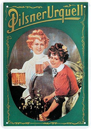 Blechpostkarte Pilsner UEQUELL Damen Bier 10x14cm Blechkarte PKM 37