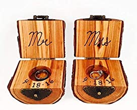 Tree Wood Ring Holder with Bark and Flip Top Hinge (Single or Set), Wood Engagement Ring Holder or Wedding Band Gift Box