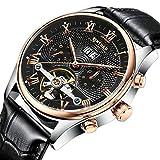 JTTM Moda Business Hombres Automático Mecánico Tourbillon Relojes De Pulsera Cuero Correa Luminoso Puntero Calendario Multifunción,Negro