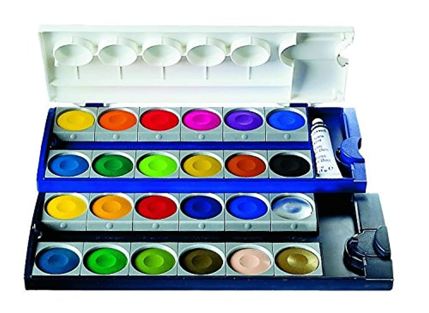 Pelikan Opaque Watercolor Paint Set, 24 Colors Plus Chinese White Tube (720862)