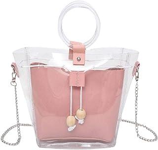 HUAYF Clear Crossbody Handbags, Fashion Women's Waterproof Drawstring Handbag Top Handle Shoulder Bag 2 in 1 Beach Bag