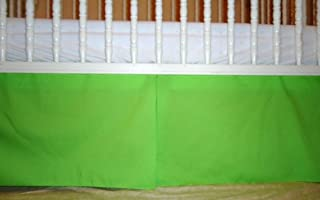 Solid Lime green Crib Skirt Tailored, Box-Pleat Baby Crib Skirt. Fits Toddler's Bed, New , 15 inches long.