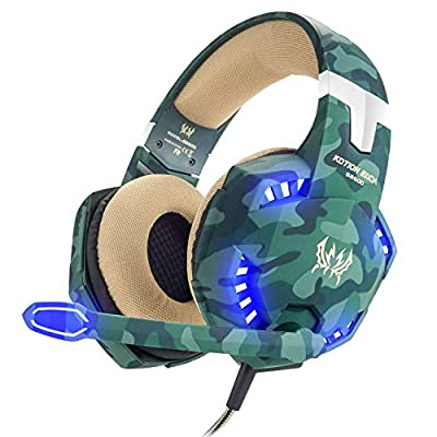 VersionTECH. Gaming headset for PS4 Xbox One X S PC Headphones with Microphone USB LED Light Noise Cancellation Mic Compatible with Nintendo Switch Controller Games Gamer Accessories Mac(Camouflage) by VersionTECH.