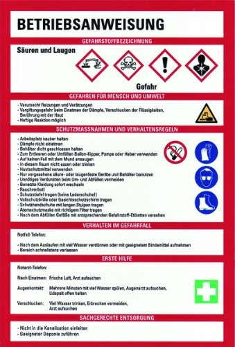 Schild PVC Betriebsanweisung für Säuren und Laugen nach GHS 300x200mm