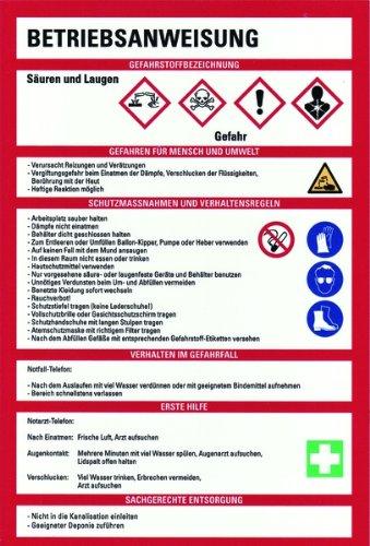 LEMAX® Schild PVC Betriebsanweisung für Säuren und Laugen nach GHS 300x200mm