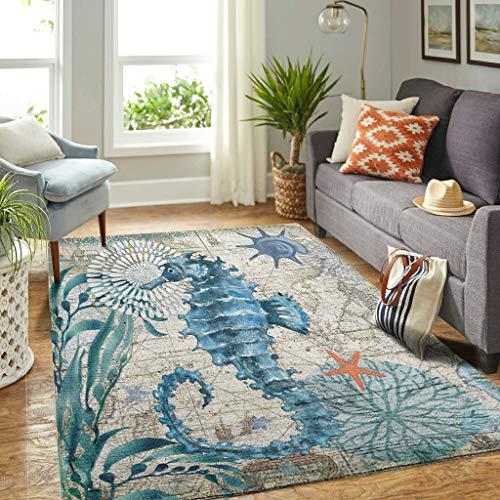 Veryday Alfombra moderna de caballito de mar océano, para salón, para la puerta, para dormitorio o habitación infantil, color blanco, 122 x 183 cm