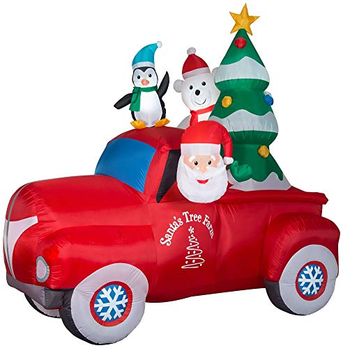 Gemmy Inflatable 8' Santa Vintage Truck with Polar Bear and Penguin Outdoor Holiday Decoration