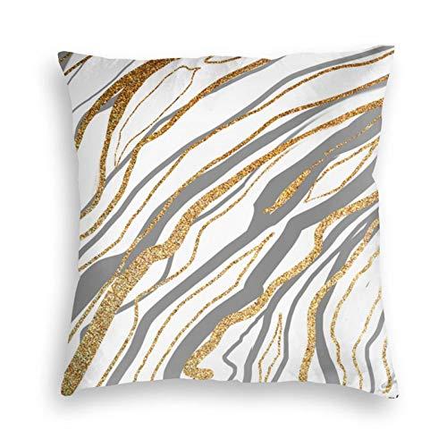 Funda de almohada, color gris y dorado mármol decorativo cuadrado funda de cojín 45,7 x 45,7 cm para sofá, dormitorio, sala de estar decoración