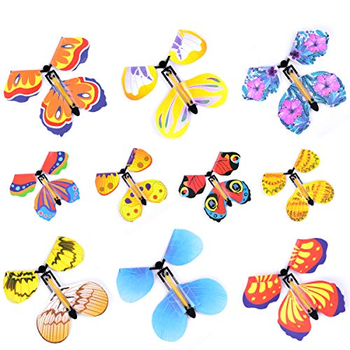 Hotusi 20Pcs Magic Fairy Flying Butterfly Wind up Butterfly Toy for Birthday Anniversary Wedding/Surprise Gift or Party Playing