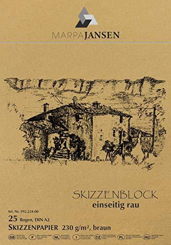 Skizzenblock - braun - einseitig rau - (DIN A2, 25 Bogen, 230 g/m²)