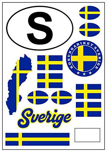aprom Adhesivo decorativo para coche, diseño de bandera de Suecia