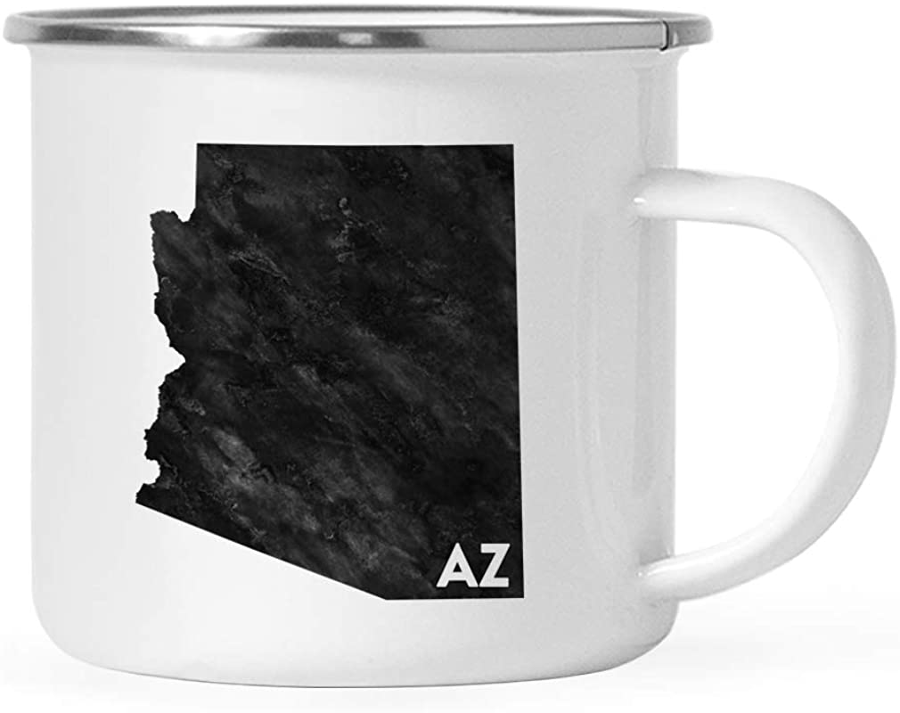 Andaz Press 11oz US State Stainless Steel Campfire Coffee Mug Gift Modern Black Grunge Abbreviation Arizona 1 Pack Metal Enamel Camping Camp Cup For Him Her Christmas Hostess Long Distance