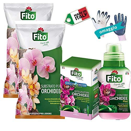 Kit Orchidee con 2X Terriccio Substrato Naturale, Concime Liquido 250 ml+6X Fiale Goccia a Goccia+Guanti Omaggio| Ideale per Rinvaso, Concimazione e Idratazione|Idea Regalo| Cura Soluzione Completa|