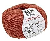 Biowolle Lane Mondial Bio Lana FINE Farbe 335 herbst, 50g reine Schurwolle zum Stricken, Babywolle Bio