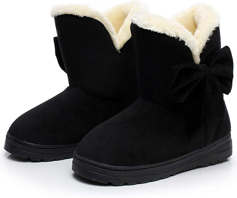 Plush Flat Platform Sneaker shoes Plus Flock Winter Women's Lace Up Cotton Snow Boots