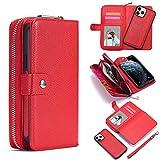 Funda protectora Caso for el iPhone 12Mini billetera de cuero con cremallera Cartera, extraíble magnética mate TPU caja del teléfono, con la identificación y la tarjeta de crédito de bolsillo desmonta