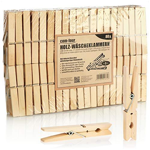 com-four® 80x Wäscheklammern XL aus Holz - Nachhaltige Holzklammern aus Birkenholz - unbehandelte Holzwäscheklammern zum Wäscheaufhängen, ca. 9 cm (080 Stück - Birke - XL)