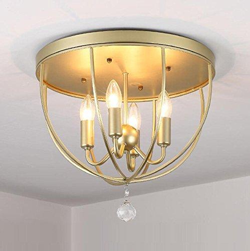 Deckenleuchte Maniny Loft Retro 4 Kopf Eisen hohl Decke Lampe Kristall Anhänger Creative Wohnzimmer Schlafzimmer Bar dekorative E14 (30 * 31cm) schwarz und Gold, golden