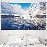 ABAKUHAUS Nautico Tappeto da Parete e Copriletto, Barca a Vela sul Mare, per la Camera da Letto, 230 x 140 cm, Blu e Bianco
