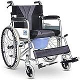 JFZCBXD Rollstuhl-Folding leichte, tragbare Selbstfahrer mit WC Bremsen Removable Kissen 18 Zoll Sitzbreite -