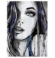 女性抽象芸術写真数字キットによる油絵キャンバスに手描きの少女の肖像画数字による着色家の装飾-D 40X50CM(フレームレス)